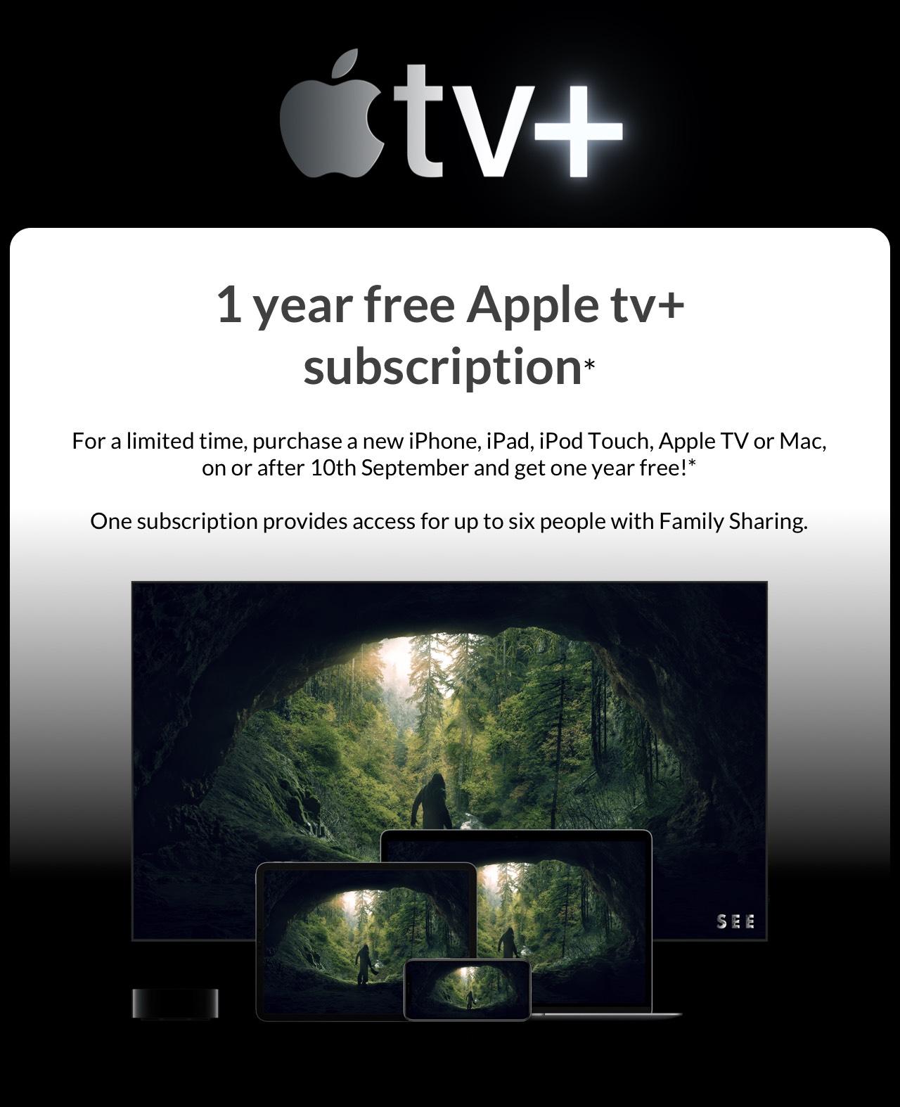 1 year free Apple TV+ *