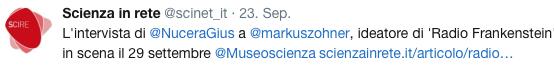 """Markus Zohner, direttore e fondatore della compagnia teatrale Markus Zohner Arts Company, spiega come lo sviluppo della scienza e della tecnica porti inevitabilmente a domande fondamentali sull'identità umana. Radio Frankenstein, spettacolo realizzato in collaborazione con JRC (Centro Comune di Ricerca della Commissione Europea), andrà in scena nuovamente il 15 ottobre al Museo Nazionale della Scienza e della Tecnologia """"Leonardo da Vinci""""."""