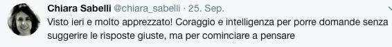 Chiara Sabelli @chiara_sabelli Folge ich Mehr Chiara Sabelli hat markus zohner retweetet Visto ieri e molto apprezzato! Coraggio e intelligenza per porre domande senza suggerire le risposte giuste, ma per cominciare a pensare