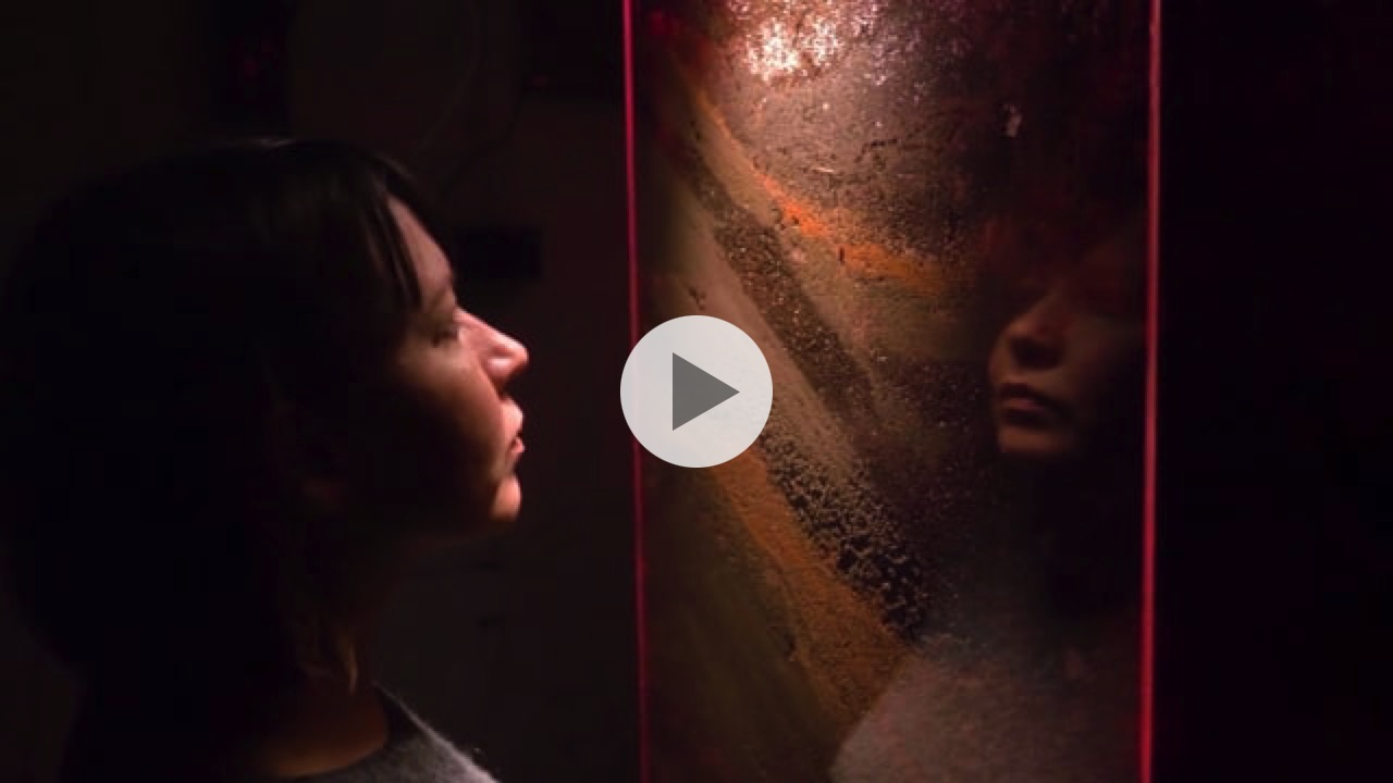 A video of the installationBy the Code of Soil: (de)Compositions, featuring two women in a room looking at a large glass cabinet with soil and worms inside